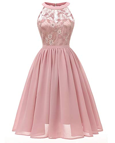 LLBubble Women's Short Lace Chiffon Women Formal Dresses Halter Junior Prom Homecoming Wedding Party Dress Size S Pink