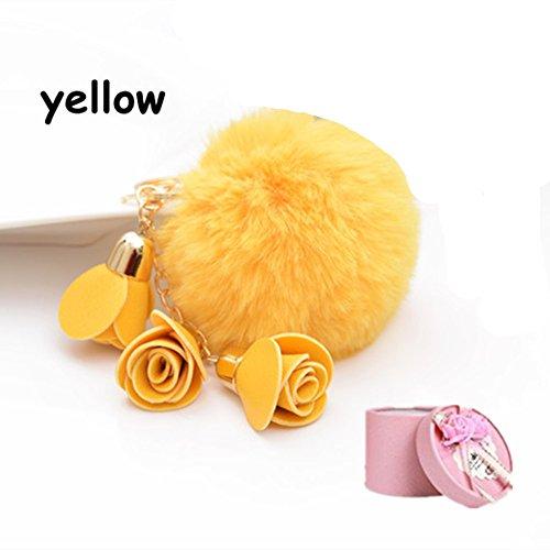 Sorority Charm Keychain - KingΠg Hot Fashion Women Rose Pendant Fur Pom Pom Ball Charm Car Keychain Handbag Key Ring Pendant(yellow)