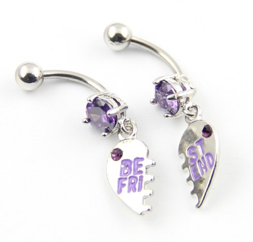 Surgical Steel 14G Purple Gems Pair of Best Friend With Heart Dangle Navel Ring Belly Bar Button Stud