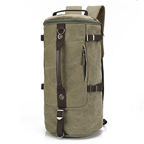 mefly Hombres Bolsa de viaje bolsa grande cilindro Retro Moda multifuncional bolsa de lona bolsa de paquete Xiekua, Size coffee Large army green