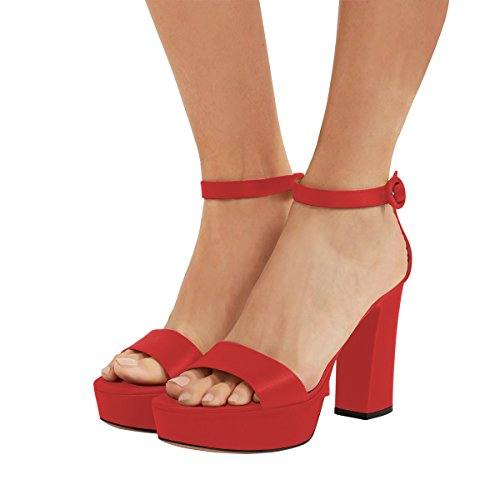 Ankle High Shoes FSJ Toe Red Open Platform Heels US 15 Sandals Fashion Chunky Strap Women Size 4 XwqqS1F