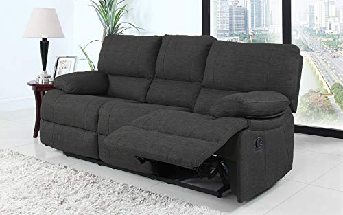 (Divano Roma Furniture Classic and Traditional Dark Grey Fabric Oversize Recliner Chair, Love Seat, and Sofa (3 Seater))