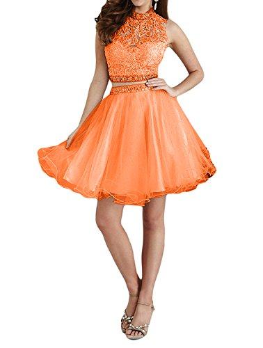 Orange Abendkleider teilig Partykleider La Zwei Marie Romantisch A Promkleider Linie Elfenbein Mini Tuell Kurz Braut Spitze Zw80FqZ