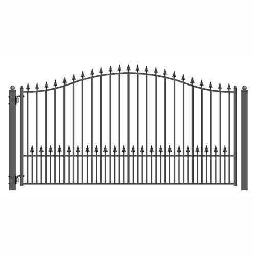 [ALEKO Munich Style Iron Wrought Single Swing Steel Driveway Gates (14' X 6 1/4')] (Wrought Steel Single)