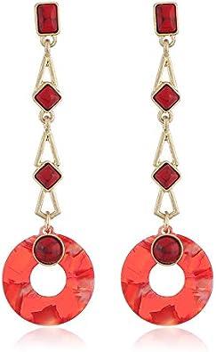 BJINUIY Pendientes de Placa de Acetato Rojo, Pendientes Redondos Largos de Turquesa para Mujer, Que simbolizan la Buena Suerte Rojo