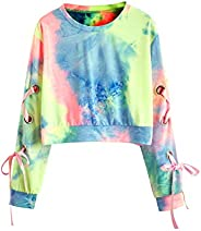 SweatyRocks Women's Casual Lace Up Long Sleeve Pullover Crop Top Sweats