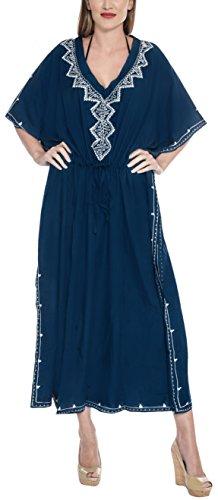 caftano insabbiare delle il LEELA più notte di lungo usura marino donne blu caftano salotto abito rayon LA sonno WfqSHW7