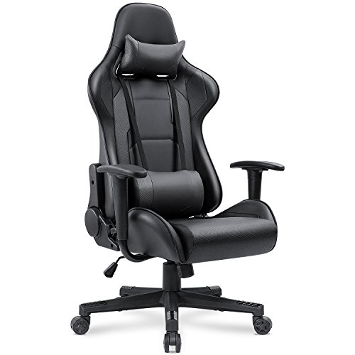 Racing Computer Chair High Back Office Chair Pu Leather Desk Chair Ergonomic Executive Swivel Chair Carbon Fiber Task Chair with Headrest and Lumbar Support Cushion (Black) (Carbon Fiber Cylinders)