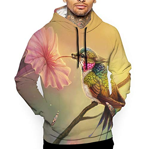 (Janeither Men's Beautiful Hummingbird Artistic Painting 3D All Printed Hooded Pullover with Pocket Casual Hoodies Sweatshirt White)