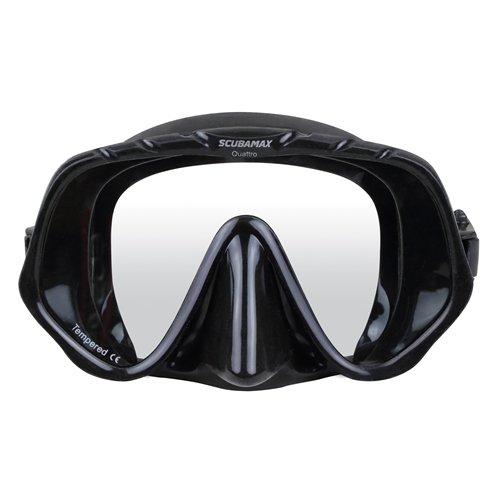 Black Silicone Scuba Max Quattro Single Window Dive Mask