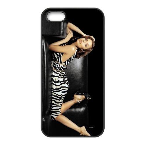 Eva Longoria On A Black Sofa coque iPhone 4 4S cellulaire cas coque de téléphone cas téléphone cellulaire noir couvercle EEEXLKNBC24953