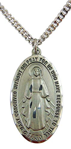 - Enlightened Expressions Pewter Oval Miraculous Pendant 1 3/8 x 3/4 Inches with Stainless Steel Chain