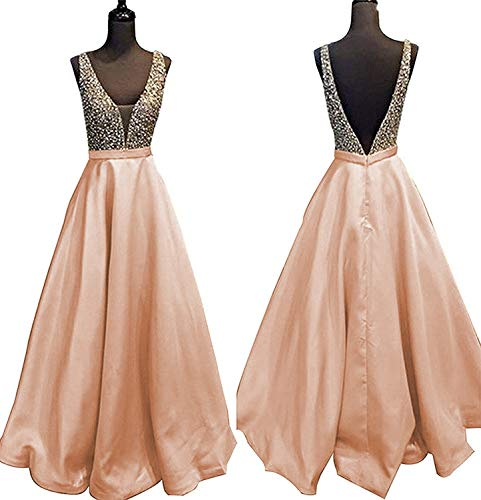 YuNuo Gorgeous V Neck Beaded Crystal Brown Long Prom Dresses 2018 Custom Made Sexy Floor Length Evening Dress Long Formal Party Gowns S5Dustypink-US6