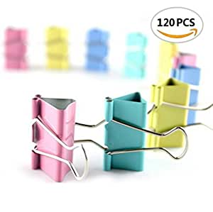 BeautyMood Colorful Metal Binder Clips, Assorted Colors and size 19mm(0.7 inch), 120 Clips per Tub
