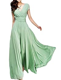 Women Elegant Short Sleeve V Neck Fit&flared Maxi Swing Party Dress