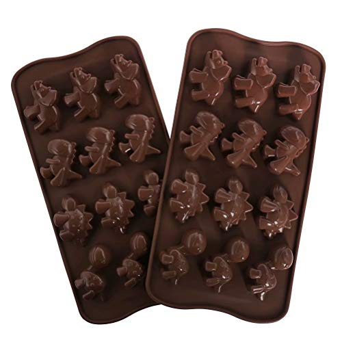 77L Chocolate Mold, Set of 2 [15 Cavity Dinosaur Shape Mold], Silicone Chocolate Molds for Home Baking - Reusable DIY Baking Molds for Candy, Chocolate, Jelly or More (Brown)