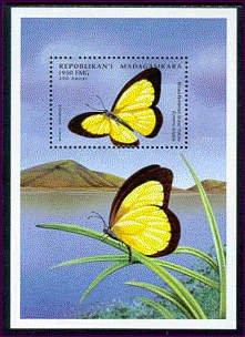 Butterflies - Souvenir Sheet Mint Stamp Madagascar (Butterflies Souvenir Sheet)