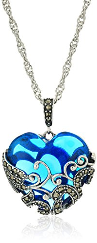 Sterling Silver Oxidized Genuine Marcasite and Swiss Blue Topaz Colored Glass Filigree Heart Pendant Necklace, (Silver Colored Heart)