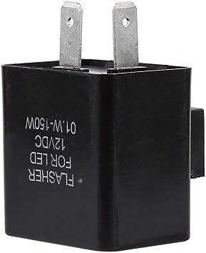MonkeyJack 2-Pin 12V Motorcycle LED Turn Signal Flasher Relay Speed Adjustable Indicator Black