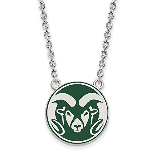 Collegiate Colorado State University Sterling Silver LogoArt Colorado State U Enamel Large Pendant with Necklace