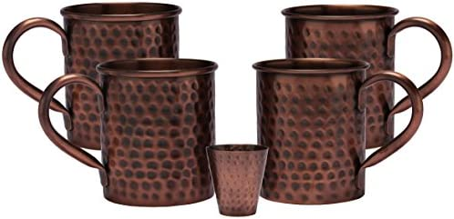 Heavy Gauge No Lining Melange 24 Oz Antique Finish Copper Classic Mug for Moscow Mules 100/% Pure Hammered Copper Set of 4 with One Shot Glass Includes Free Recipe Card 712166790144