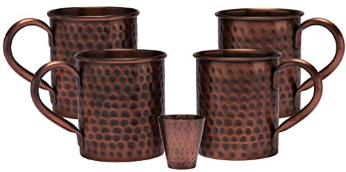 Price comparison product image Melange 16 Oz Antique Finish Copper Classic Mug for Moscow Mules, Set of 4 with One Shot Glass - 100% Pure Hammered Copper - Heavy Gauge - No lining - includes FREE Recipe card