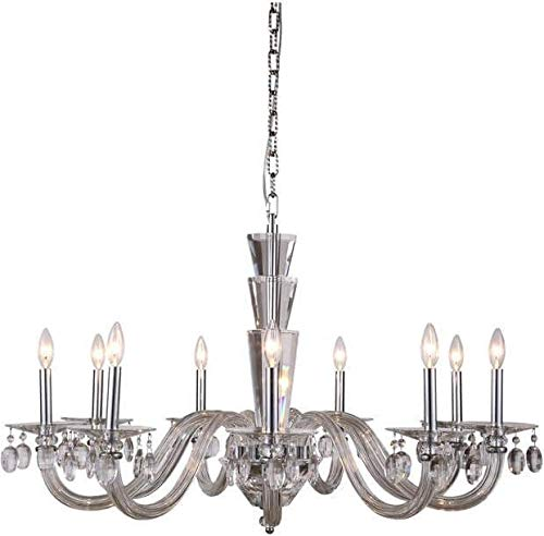 Elegant Lighting Chandelier Augusta Traditional Antique 9-Light Chrome Glass Crystal ()