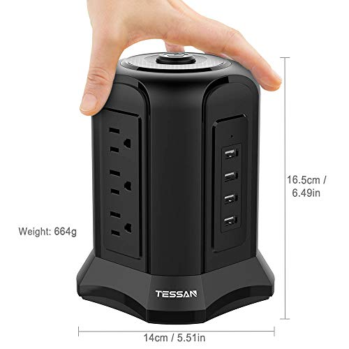 TESSAN Surge Protector Tower Power Strip with 9 AC Outlets 4 USB Ports 900 Joules Electrical Plug