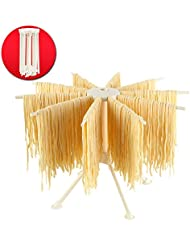 Cambom Foldable Pasta Drying Rack- Plastic Spaghetti Noodle Dryer with 10 Bar Handles (WHITE)