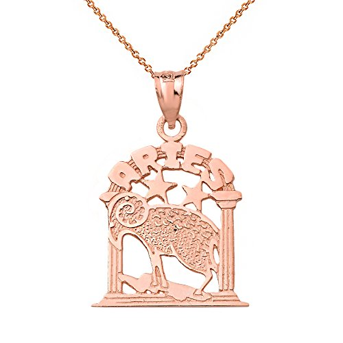 10k Rose Gold Aries Zodiac Sign Personalized Charm Pendant Necklace, 20