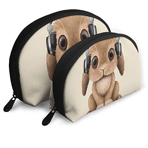 Makeup Bag Cute Baby Bunny DJ Portable Shell Storage Bag For Women Halloween Gift 2 Piece -