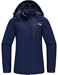 Wantdo Women's Mountain Ski Jacket Hooded Windproof Fleece Outdoor Coat