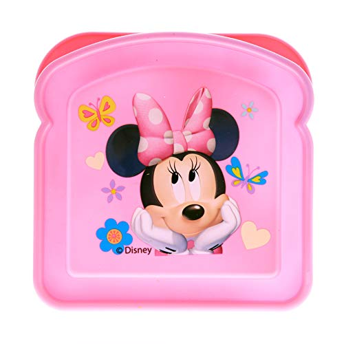 Disney Minnie Mouse Girls Sandwich Container Bread Lunch Box for School Travel (Minnie Mouse Container)