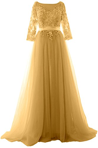 MACloth Women Half Sleeve Lace Tulle Maxi Prom Dress Evening Formal Gown Gold