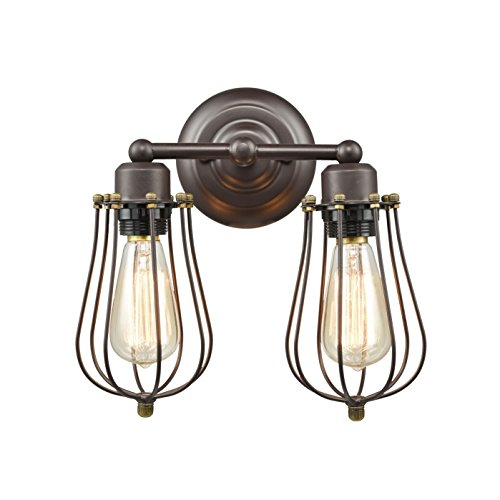 CLAXY Ecopower Vintage Style 2-Lights Industrial Oil Rubbed Bronze Mini Wire Cage Wall Sconce