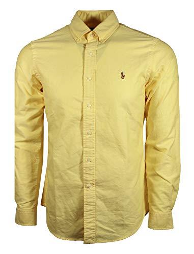 - Polo Ralph Lauren Mens Classic Fit Oxford Longsleeve Buttondown Shirt (Medium, Yellow)