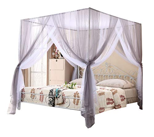 Mengersi Bed Canopy Curtain Net - 4 Corners Post Bed Canopies - Princess Style Bedroom Decoration for Adults &Girls Or Boys Gift (Queen, Gray and White)