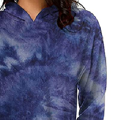 Sttech1 Women's Long Sleeve Dye Printed Pullover Casual Hoodie Dress Hooded Tunic Sweatshirt with Pockets: Clothing