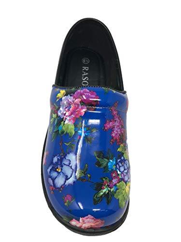 Power Clogs Back Professional Flower Rasolli 3106 Blue Women's Closed HqCxUz