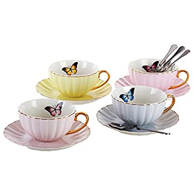 Jusalpha Elegant Tea Cup and Saucer Set-Coffee Cup Set with Saucer and Spoon FD-TCS03-4COLOR