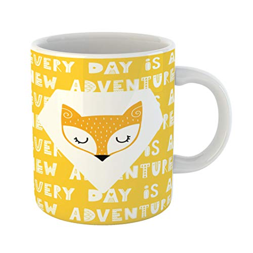 - Emvency 11 Ounces Coffee Mug Yellow Graphic Colorful Childish Lettering in Scandinavian Creative Fox and Phrase Nordic Animal White Ceramic Glossy Tea Cup With Large C-handle