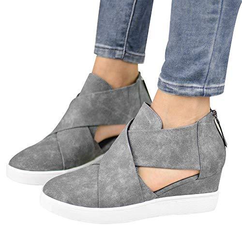 2018 de Zapatos Cómodos Señora Ayuda Zapatillas Cuero de Moda Nobuk Invierno Otoño Hueco Vestir para Casual de Grande Talla Dama Plataforma Mujer Calzado Gris PAOLIAN cuña Zapatos EtqpHfwBfP
