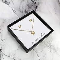 Set Collar y Aretes de Corazón en Chapa de Oro de 22K Regalo para Pareja