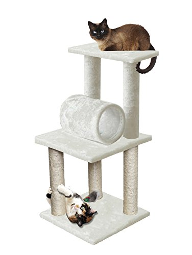 Price comparison product image 33 White Pet Cat Tree Play Tower Bed Furniture Scratch Post Tunnel Top Mouse toy notch by Unbranded