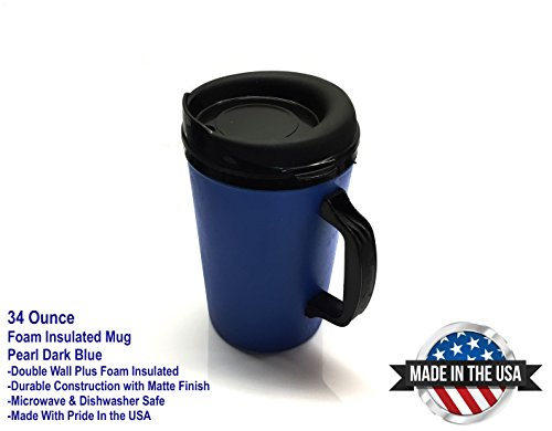 ThermoServ 535A02601A1 Foam Insulated Mug, 34-Ounce, Pearl Dark Blue