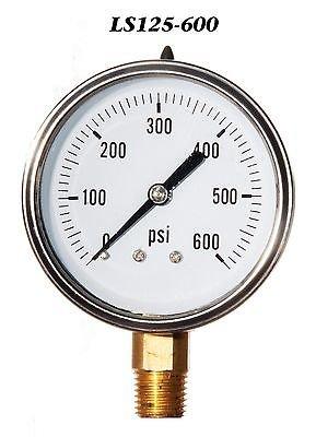 Hydraulic Liquid Filled Pressure Gauge 0-600 PSI