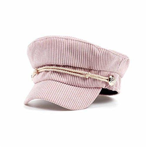 New Arrival Women Men Corduroy Beret Cap Unisex Fashion Navy Hat Outdoor Casual Caps Hot Sale Winter Hats For Women Cheapu Pink