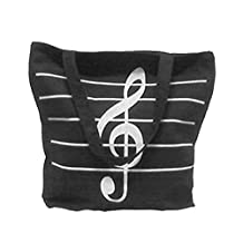 WINOMO Handbag Shoulder Fashion Music Symbols Print Canvas Tote Shopping Bags Gift