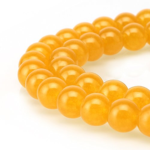 BRCbeads Jade Gemstone Loose Beads Natural Round 8mm Crystal Energy Stone Healing Power for Jewelry Making- Yellow]()