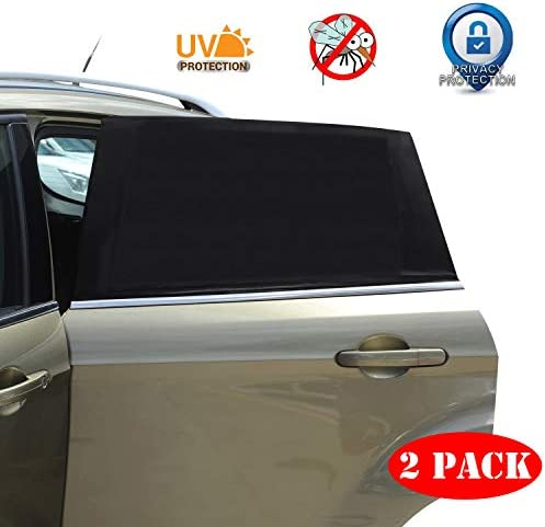 Car Window Sun Shade – 2 Pack Breathable Mesh Car Rear Side Window Shade Sunshade UV Protection for Baby Family Pet, Mosquito Net Curtains Fit for Most(95%) of Cars, Cover Full Window